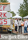 Caption: Chefs are among the shoppers at the farmers' market in Great Barrington. Credit: Credit Tony Cenicola/The New York Times
